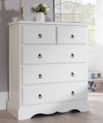 Romance 2 over 3 Chest of Drawers, Large Antique White chest of drawers, FULLY ASSEMBLED