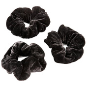 Womens Large Black Velvet Hair Elastic Scrunchie Pack Of 3