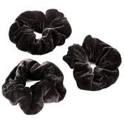Womens Large Black Velvet Hair Elastic Scrunchie Pack Of 3