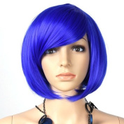 Gleader Womens Inclined Bangs Short Straight Full Wig Hair BOB Cosplay Party Blue