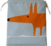 Scion Mr Fox Sky/Tangerine Fabric. Drawstring Waterproof Lined Wash Bag, Cosmetic Bag