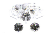 Birth Stone Jewels 10 mm Diamond White Round Brilliant Cut Cubic Zirconia Gem Stones Pack Of 2