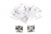 Birth Stone Jewels 6 mm Diamond White Princess Cut Cubic Zirconia Gem Stones Pack Of 2