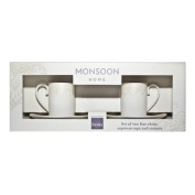 Denby 11.8 cm 500 ml China Monsoon Lucille Espresso Cup and Saucer Set, Gold/ Cream