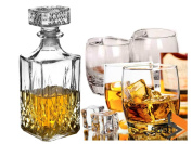 FiNeWaY@ set of 4 x 200ml glass whiskey wine tumblers & square glass decanter bottle gift set