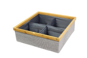 Twill Stackable Closet Tray 4-Dividers Drawer and Closet Storage Bin