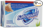 (PACK OF 17 BARS) Safeguard WHITE W/ ALOE Antibacterial Bar Soap. ELIMINATES 99% OF BACTERIA! Washes Away Dirt & Odour! Healthy Skin for Hands, Face & Body!
