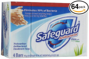 (PACK OF 64 BARS) Safeguard WHITE W/ ALOE Antibacterial Bar Soap. ELIMINATES 99% OF BACTERIA! Washes Away Dirt & Odour! Healthy Skin for Hands, Face & Body!
