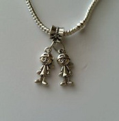 Beads Hut - Little Boys Brothers Twins Babies Dangle Bead for Silver European Charm Bracelet