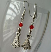 Beads Hut - Christmas Tree Earrings Red Bead Dangle Jewellery Antique Silver