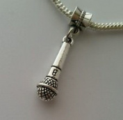 Beads Hut - Microphone Music Speech Lead Singer Band Dangle Bead for European Charm Bracelet