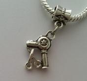Beads Hut - Scissors Blow Dryer Hair Stylist Dangle Bead for Silver European Charm Bracelets