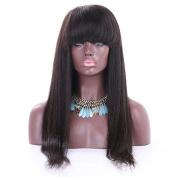 Natural Black Light Yaki Brazilian Virgin Hair 130density 20cm - 70cm Glueless Full Lace Human Hair Wigs for Black Women with Bangs