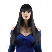 STfantasy 60cm Long Straight Black Full Hair women Wig With Bang +Free Cap