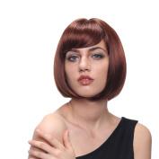 STfantasy 32cm Elegant Brown Bob Wigs For Women For Daliy Use With Free cap
