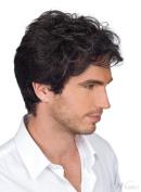 High Quality Short Wavy Black Mixed White 100% Human Hair Capless Wig