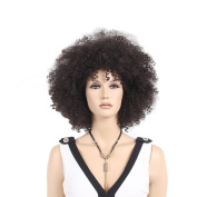 STfantasy 46cm Deep Brown Afro Wigs For African Men and Women With Free cap