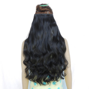 60cm 3/4 Full Head Curly Wave Clip in on Synthetic Hair Extensions Hair Pieces for Women 5 Clips 120g