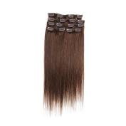 60cm Aphro Hair Clip In Human Hair Straight Remy Human Hair Extensions 7 Pcs Per Set 70G 2# Dark Brown