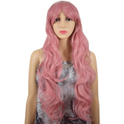 RightOn New Fashion 80cm High Quality Synthetic Women Girls Sexy Long Wavy Curly Cosplay Costume Party Wig with Free Wig Cap and Comb