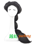 Yuehong Long Black Anime Cosplay Wig Classic Halloween Cosplay Full Wig