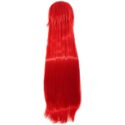 Demarkt Red Cosplay Costume Wig Red Long 80cm Straight Costume Party Cosplay Wig