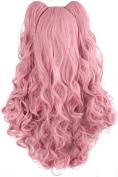 Demarkt Cosplay Wig Pink Lolita Long Curly Clip on Ponytails Cosplay Wig