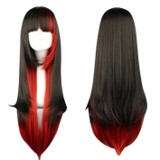 70cm Cosplay Two Tone Harajuku Style Flat Bang Lolita Long Straight Hair Wig for Halloween Costume Cos Party Full Head Wigs
