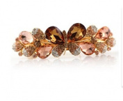 Hand-made Violet Flower Crystal Barrettes Sweet Grand Barrette Hair Clip Rhinestone Embellished Fashion Barrette, Gold
