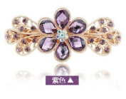 Big Sparkly Multi Flower Hair Pin Women s 18K Alloy Barrette Clip Crystal Ponytail Barrette for Lady, Purple