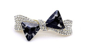 Gold Bowknot Crystal Fashion Jewellery Sparkly Crystal Hair Barrette Large Metallic Barrette for Lady, Black