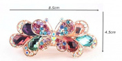 Big Sparkly Blue Butterfly Hair Pin Women s 18K Alloy Barrette Clip Crystal Ponytail Barrette for Lady, Multi