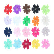 Zcoins 20PCS 13cm Big Hair Bows with Lined Alligator Clips Baby Girl Photo Shoot Hair Accessary