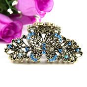 Beuautyxyz Blue colour Crystal high quality Butterfly/flower Hair Claw Clip Pin
