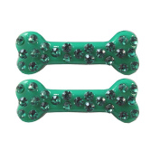 Kreepsville 666 Diamonte Mini Bone Hairslides Green