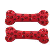 Kreepsville 666 Diamonte Mini Bone Hairslides Red