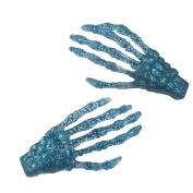 Kreepsville 666 Skeleton Bone Hand Hairslides Blue Glitter