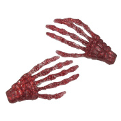 Kreepsville 666 Skeleton Bone Hand Hairslides Red Glitter