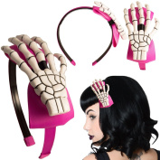 Women's Kreepsville 666 Skeleton Hand Alice Band Pink /White