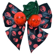Kreepsville 666 Cherry Skull Hair Bow Red