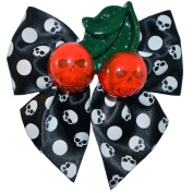 Kreepsville 666 Cherry Skull Hair Bow White