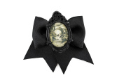 Project Pinup Antique Skull Image Cameo Black Traditional Hair Bow Clip