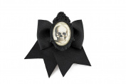 Project Pinup Skull Cameo Black Traditional Hair Bow Clip