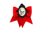Project Pinup Skull Cameo Red Traditional Hair Bow Clip