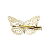 Veewon® 2pcs Minimalist Dainty Gold and Silver Butterfly Hairpin Edge Clip Hair Headdress