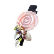 "HANABE ""Rosa"" Lovely Pink Rose Mother of Pearl Crystal Combi Handmade Hairpin Pin"