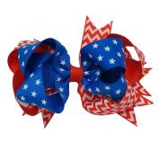 Akak Store 1 Pcs 13cm Loopy Hair Bow USA Stars and Stripes Flag Ribbon Bow For USA 4th of July