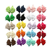 Zcoins U Choose 20PCS 7.6cm Boutique Grosgrain Ribbon Hair Bow Lined Pinwheel Hair Clips
