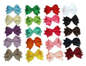 Zcoins 20PCS 8.9cm Spike Boutique Grosgarin Ribbon Bow Hair Clips 20 Colours to Choose