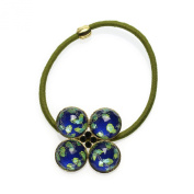 Tamarusan Ponytail Holder Blue Tsurukusa Gold Gorgeous Hair Ornaments Fashionable Nickel Free Orignal Resin Handmade
